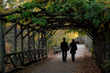 Couple walking under an arbor in Central Park